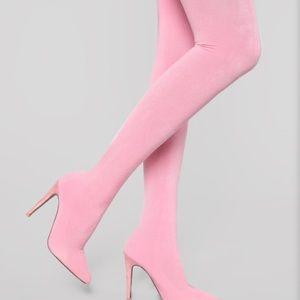 Pink thigh high boot